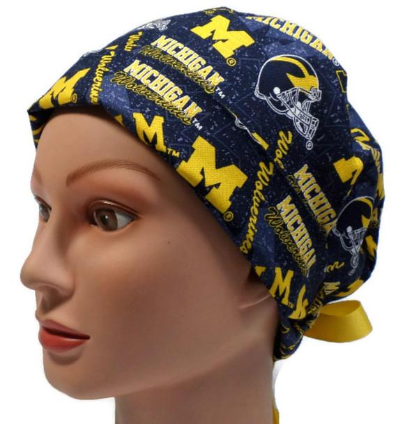 Women's Michigan Wolverines Two Tone Pixie Surgical Scrub Hat, Fold Up Brim, Adjustable, Handmade