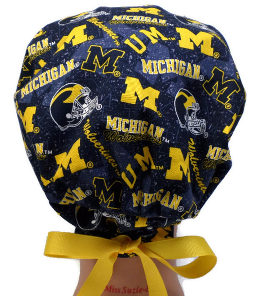 Women's Adjustable Fold-Up Pixie Surgical Scrub Hat Handmade with  Michigan Wolverines Two Tone fabric