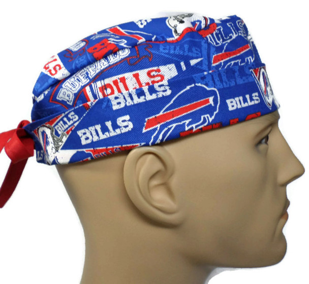 Men's Adjustable Fold-Up  Cuffed or Un-Cuffed Surgical Scrub Hat Cap Handmade with  Buffalo Bills Retro fabric