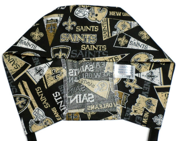 Men's Semi-Lined Fold-Up Cuffed (shown) or No Cuff Surgical Scrub Hat Handmade of New Orleans Saints Retro fabric