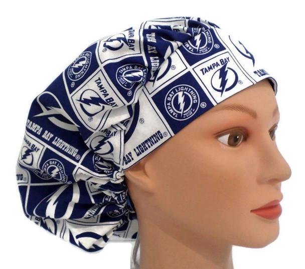 Women's Adjustable Bouffant Surgical Scrub Hat handmade with Tampa Bay Lightning fabric