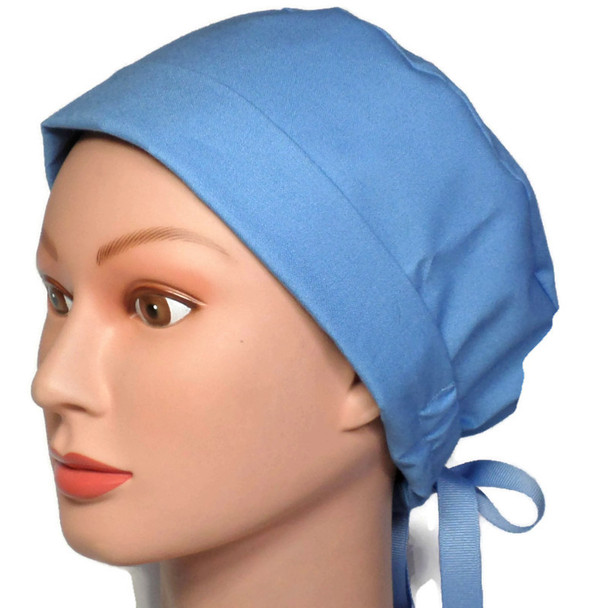 Women's Adjustable Fold-Up Pixie Surgical Scrub Hat Handmade with  Denim Blue fabric