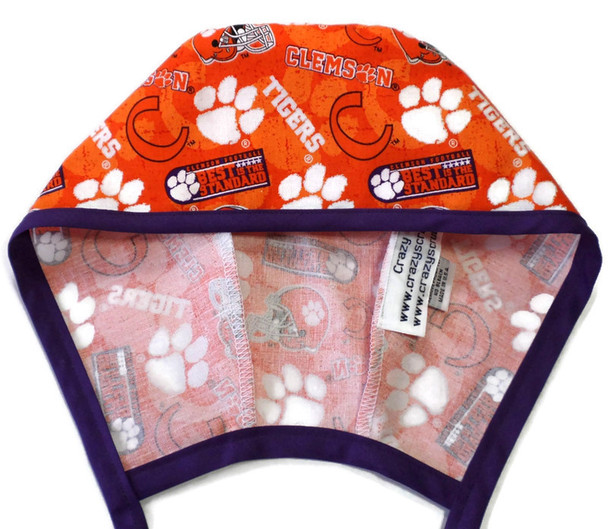 Men's Optional Sweatband Unlined Surgical Scrub Hat Handmade with  Clemson Two Tone fabric