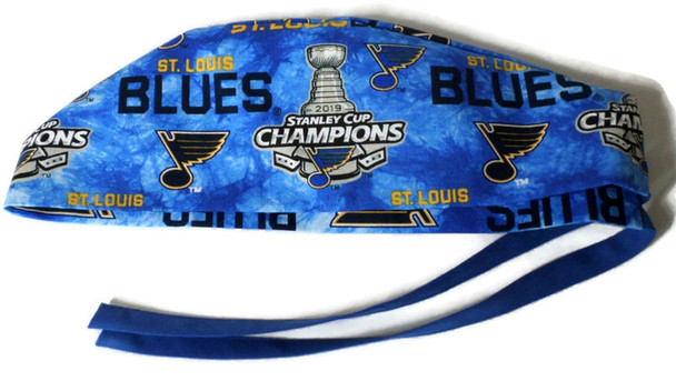 Men's Semi-Lined Surgical Scrub Hat Handmade with  St Louis Blues Champs Two Tone  fabric