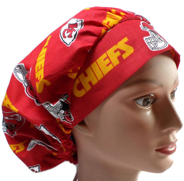Women's Kansas City Chiefs Red Bouffant Surgical Scrub Hat, Adjustable with elastic and cord-lock, Handmade