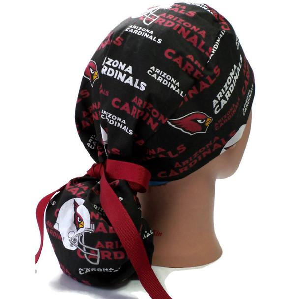 Women's Arizona Cardinals Ponytail Surgical Scrub Hat, Plain or Fold-Up Brim Adjustable, Handmade