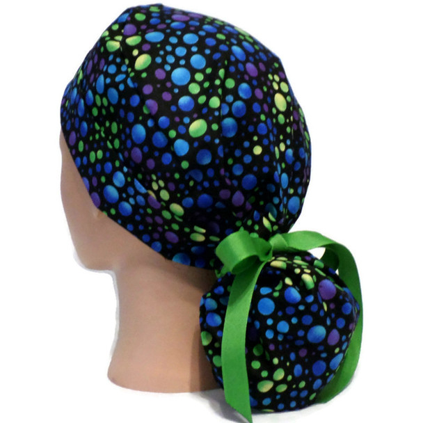 Women's Dots Carnivale Ponytail Surgical Scrub Hat, Plain or Fold-Up Brim, Adjustable, Handmade