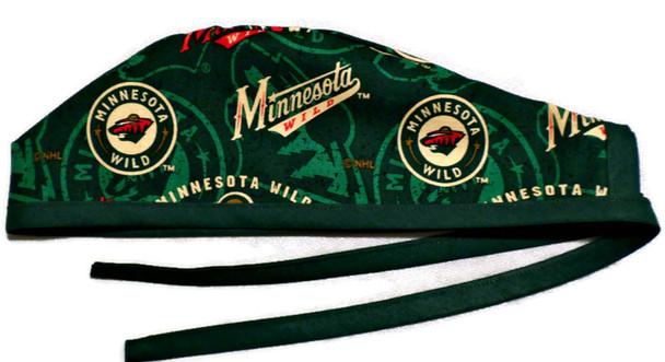 Men's Minnesota Wild Two Tone Unlined Surgical Scrub Hat, Optional Sweatband, Handmade
