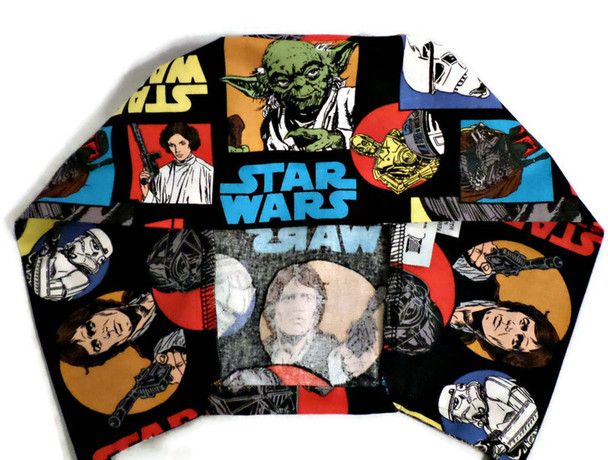 Men's Star Wars Characters Surgical Scrub Hat, Semi-Lined Fold-Up Cuffed or No Cuff (shown), Handmade