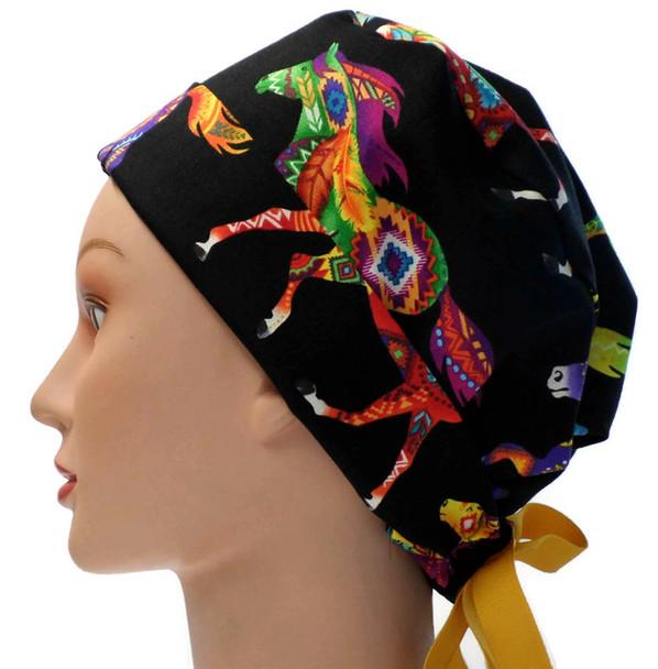 Women's Southwest Horses Brite Pixie Surgical Scrub Hat, Fold Up Brim, Adjustable, Handmade