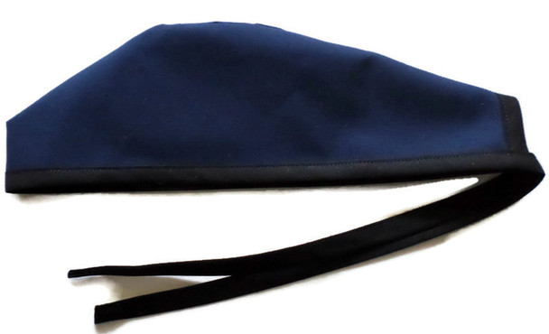 Men's Solid Navy Unlined Surgical Scrub Hat,  Optional Sweatband, Handmade