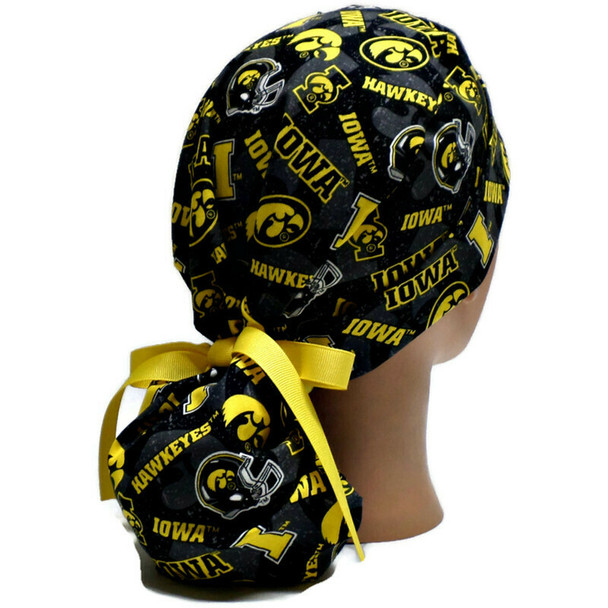 Women's Iowa Hawkeyes Two Tone Ponytail Surgical Scrub Hat, Plain or Fold-Up Brim Adjustable, Handmade