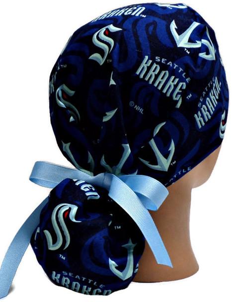 Women's Seattle Kraken Ponytail Surgical Scrub Hat, Plain or Fold-Up Brim Adjustable, Handmade