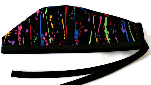 Men's Paint Splatters Unlined Surgical Scrub Hat, Optional Sweatband, Handmade