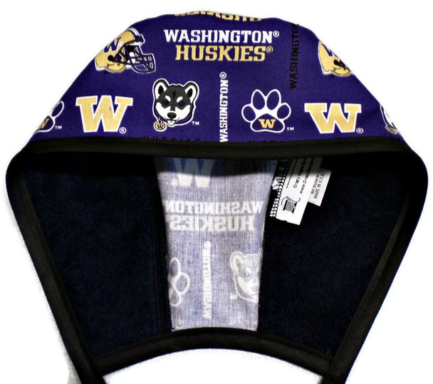 Men's Washington Huskie Two Tone  Unlined Surgical Scrub Hat, Optional Sweatband, Handmade