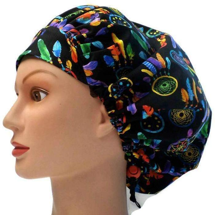 217379ff892 Women s Adjustable Bouffant Surgical Scrub Hat Cap Handmade with  Dreamcatchers fabric w  elastic and cord ...