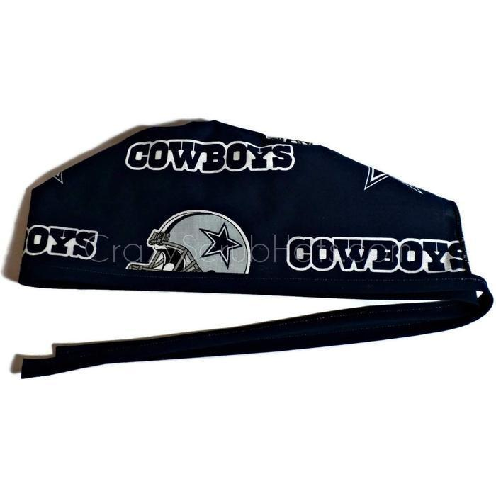 Men s Unlined Surgical Scrub Hat Cap Handmade with Dallas Cowboys Navy  fabric 85e61f00308b