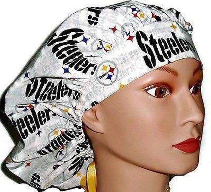 31fb462ad Women's Adjustable Bouffant Surgical Scrub Hat Handmade with Pittsburgh  Steelers White fabric w/ elastic and cord-lock