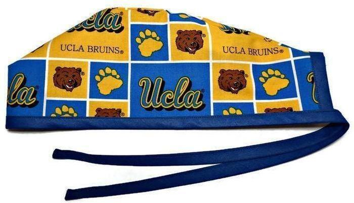 8870415de Men's Optional Sweatband Unlined Surgical Scrub Hat Handmade with UCLA  Bruins fabric