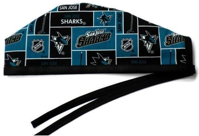 57e43ec8 Men's Optional Sweatband Unlined Surgical Scrub Hat Handmade with San Jose  Sharks fabric