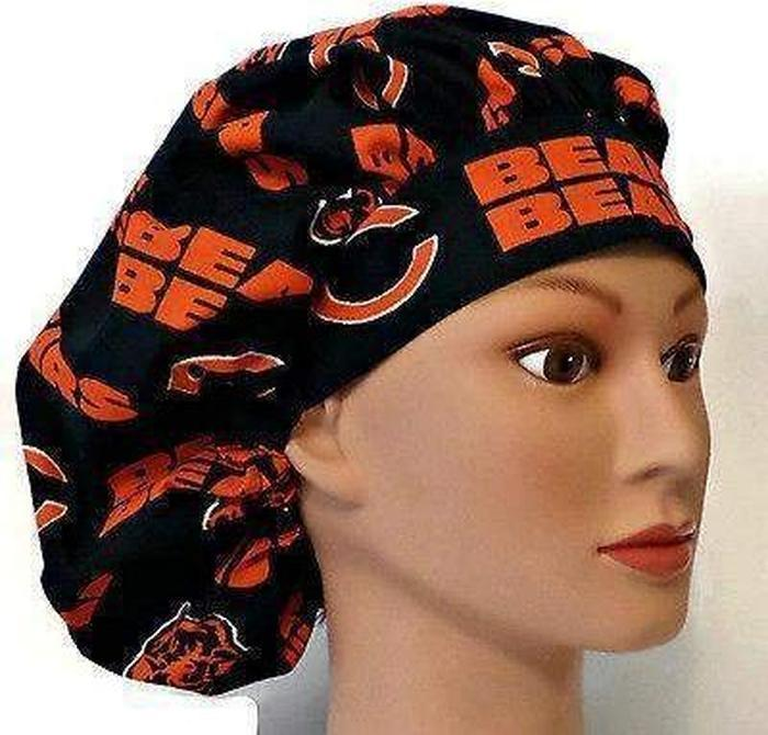 e1a08453e0b34 ... coupon for womens adjustable bouffant surgical scrub hat cap handmade  with officially licensed chicago bears fabric