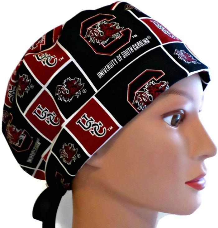 Women s Adjustable Fold-Up Pixie Surgical Scrub Hat Cap Handmade with South  Carolina Gamecocks Squares 4bff75aa12