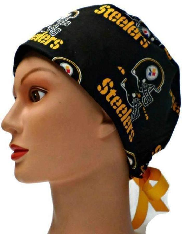 b48d1889b Women's Adjustable Fold-Up Pixie Surgical Scrub Hat Handmade with  Pittsburgh Steelers Black fabric
