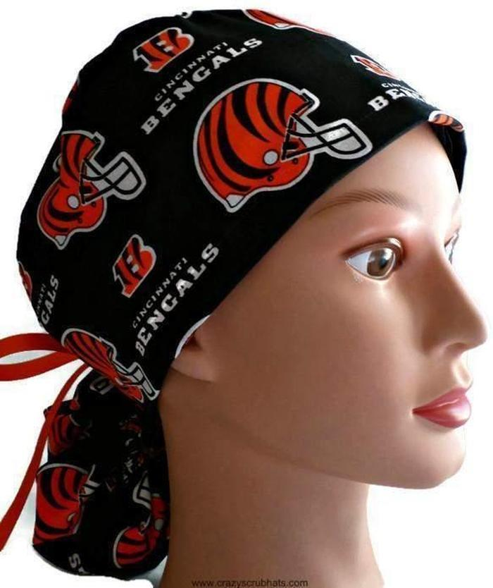 Women s Adjustable Ponytail Surgical Scrub Hat Cap handmade with Officially  Licensed Cincinnati Bengals fabric ... ad56a520ce4