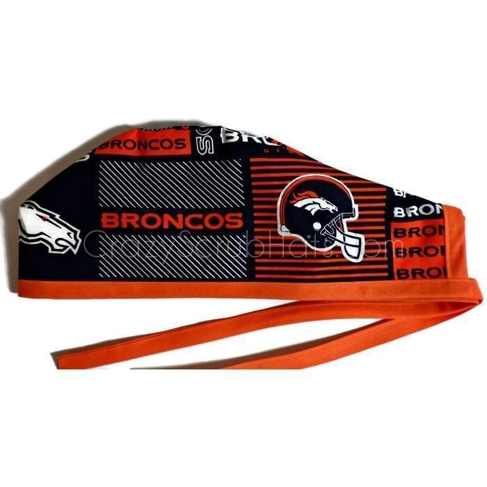 2ede3e105 Men's Unlined Surgical Scrub Hat Cap Handmade with Denver Broncos Squares  fabric