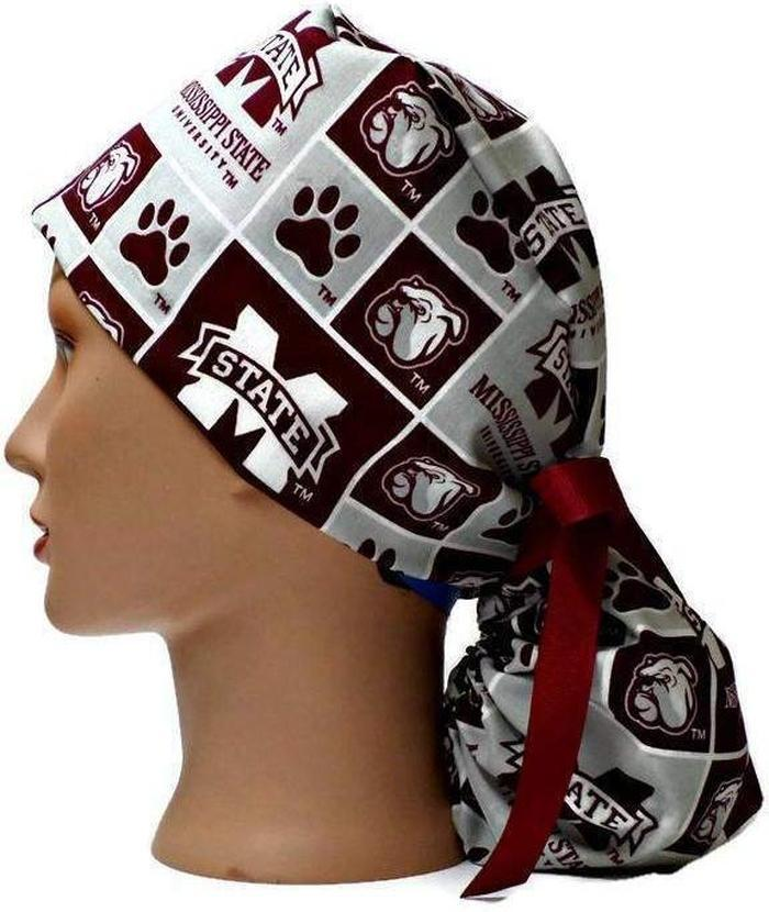 Women s Adjustable Ponytail Surgical Scrub Hat Cap Handmade with  Mississippi Bulldogs Squares ... 6fee4096cd9