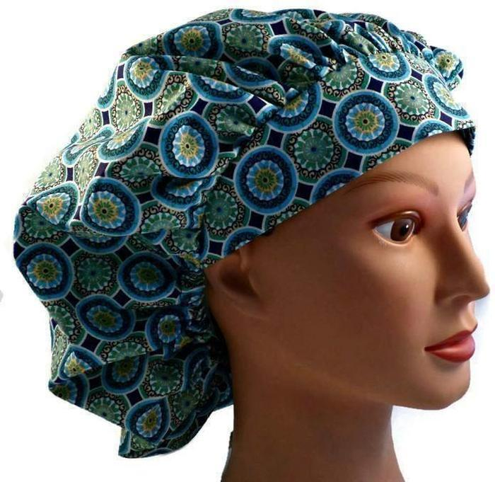 2bc41be6a21 Women's Adjustable Bouffant Surgical Scrub Hat Cap Handmade with Blue  Mosaic fabric w/ elastic and