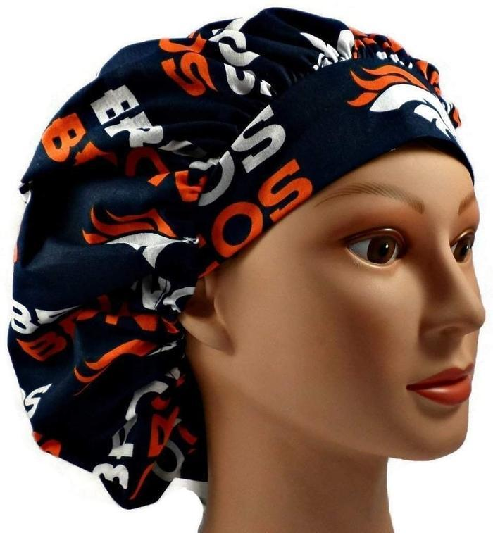 a5469ca0f Women's Adjustable Bouffant, Pixie, or Ponytail Surgical Scrub Hat Handmade  with Denver Broncos Navy fabric