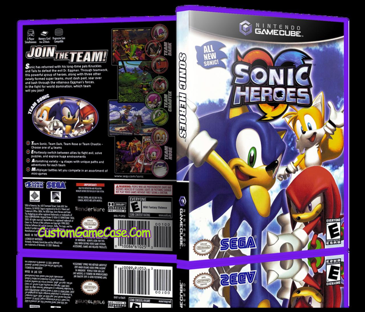 Sonic Heroes Nintendo Gamecube Gc Empty Custom Replacement Game Box Case Custom Game Case