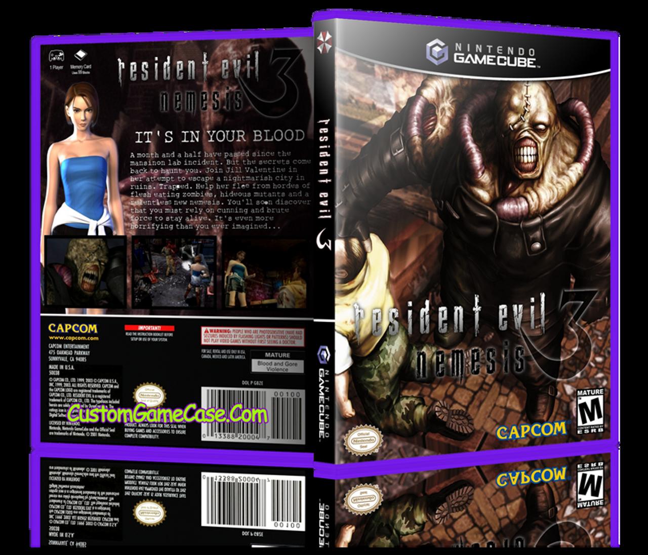 Resident Evil 3 Nintendo Gamecube Gc Empty Custom Replacement