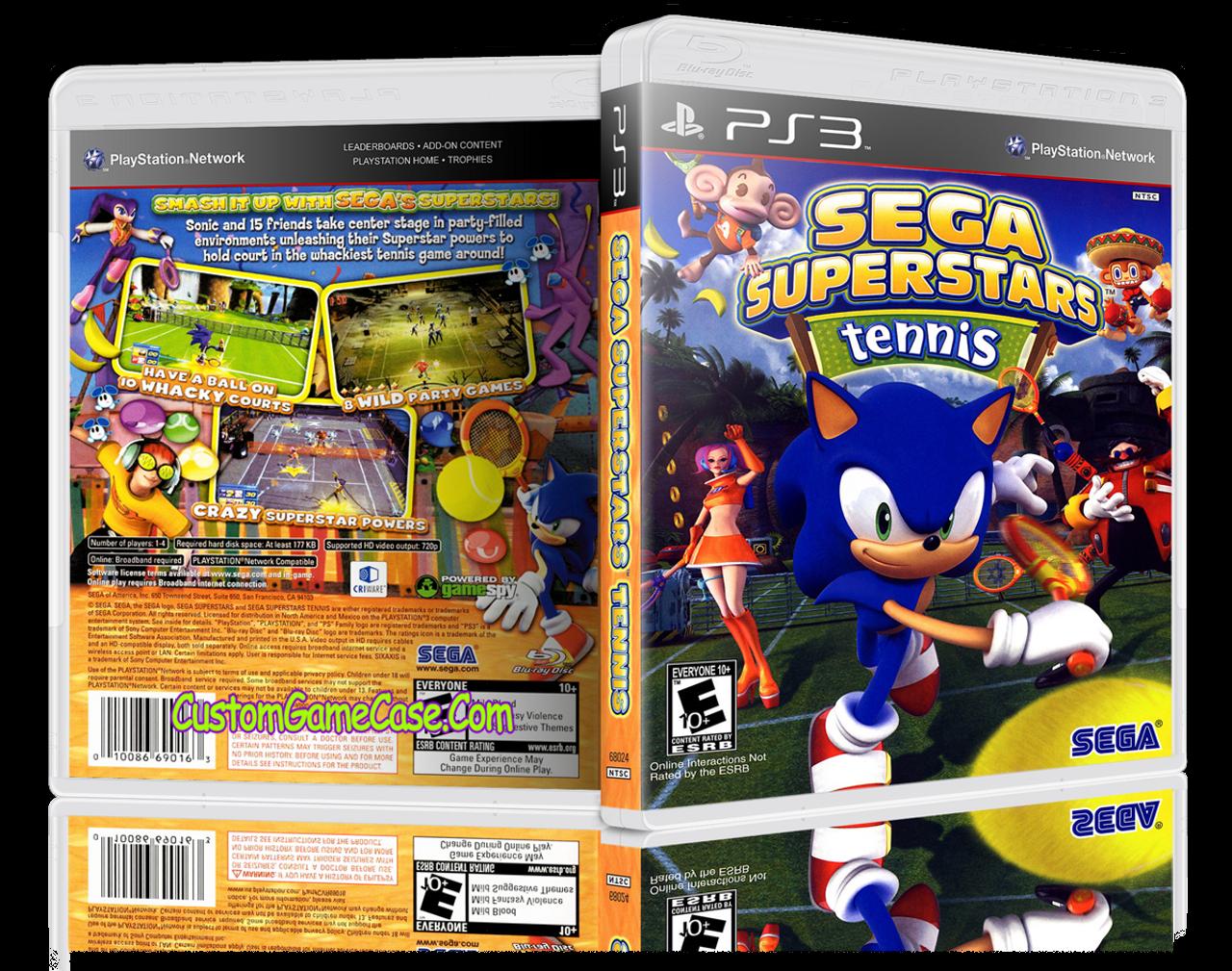 Sega Superstars Tennis - Sony PlayStation 3 PS3 - Empty Custom Replacement Case