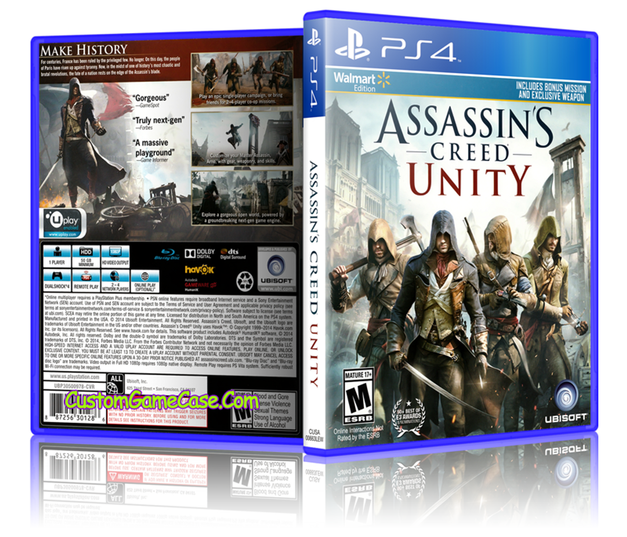 Assassins Creed Unity Sony Playstation 4 Ps4 Empty Custom