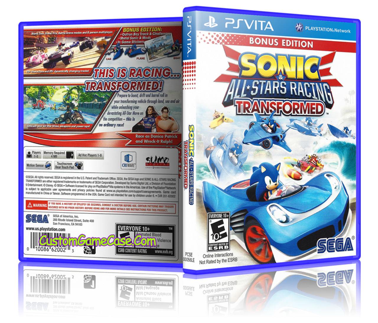 Sonic All-Stars Racing - Sony PlayStation PS Vita - Empty Custom  Replacement Case
