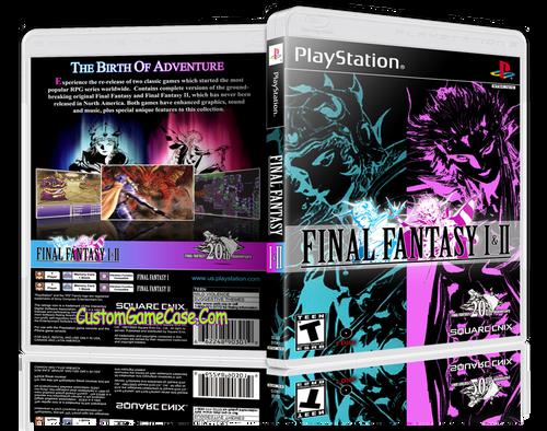 Final Fantasy I & II - Sony PlayStation 1 PSX PS1 - Empty Custom Case