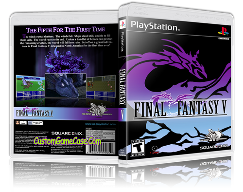 Final Fantasy V - Sony PlayStation 1 PSX PS1 - Empty Custom Case