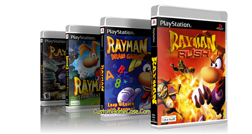 Rayman Collection 1 2 Brain Games Rush Sony PlayStation 1 PSX PS1 - Empty Custom Cases