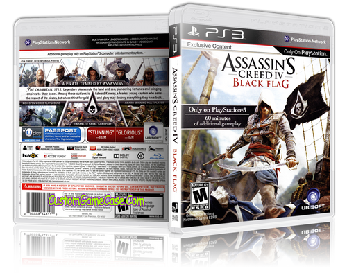 Assassins Creed Black Flag - Sony PlayStation 3 PS3 - Empty Custom Replacement Case