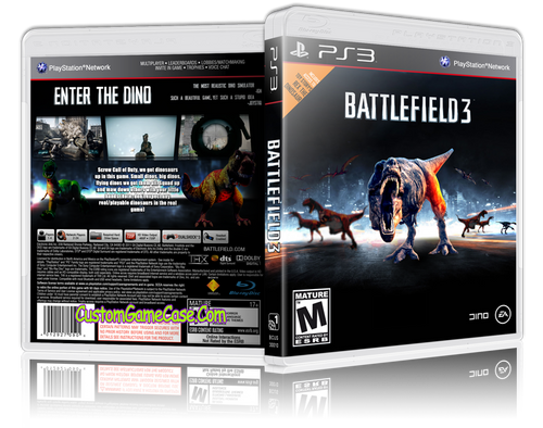 Battlefield 3 (T-REX) - Sony PlayStation 3 PS3 - Empty Custom Replacement Case