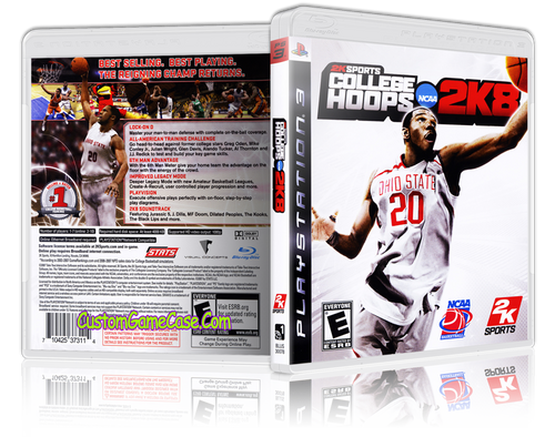 College Hoops 2K8 - Sony PlayStation 3 PS3 - Empty Custom Replacement Case