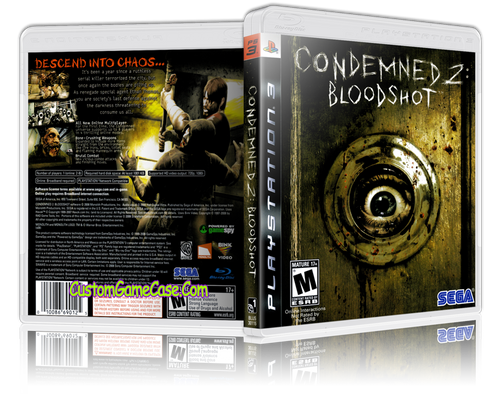 Condemned 2 bloodshot - Sony PlayStation 3 PS3 - Empty Custom Replacement Case