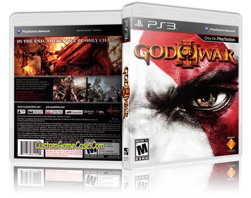 God of War 3 (V3) - Sony PlayStation 3 PS3 - Empty Custom Replacement Case