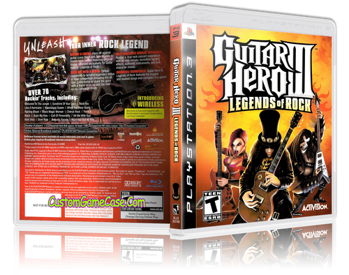 Guitar Hero III Legends of Rock - Sony PlayStation 3 PS3 - Empty Custom Replacement Case
