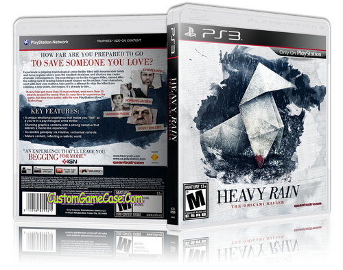 Heavy Rain The Origani Killer - Sony PlayStation 3 PS3 - Empty Custom Replacement Case
