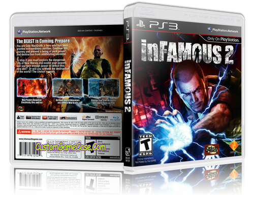 Infamous 2 - Sony PlayStation 3 PS3 - Empty Custom Replacement Case