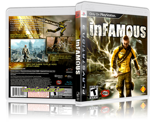 Infamous - Sony PlayStation 3 PS3 - Empty Custom Replacement Case