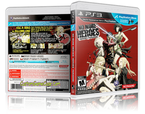 No More Heroes: Heroes' Paradise - Sony PlayStation 3 PS3 - Empty Custom Replacement Case